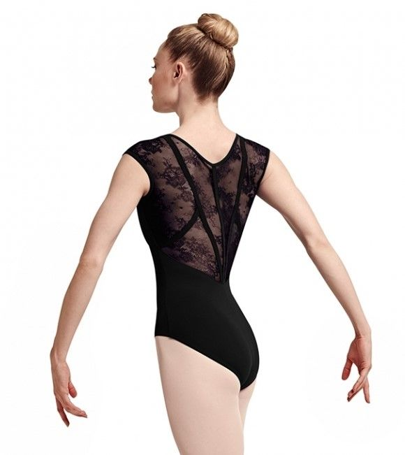 134961127f Bloch L7714 Hava Lace and Ribbon Back Cap Sleeve Leotard in Black