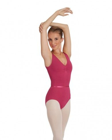 Capezio CAD201 Ruche Front Tank Top Leotard Black & Mulberry