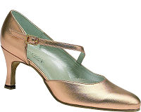 Foxtrot Ballroom Dance Shoe by Dance Steps in Metallic  Peach