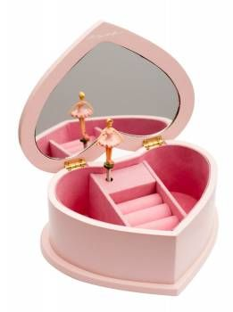 Pink Heart Shaped Musical Jewellery Box