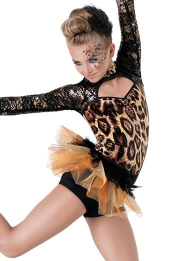 Weissman 8804 'Where are you Now' Animal Print Biketard with Half Tutu Skirt Hire Costume